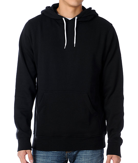 Zine Pulley Solid Black Pullover Hoodie at Zumiez : PDP