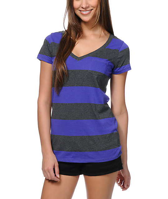 Zine Purple & Charcoal Rugby Stripe V-Neck T-Shirt
