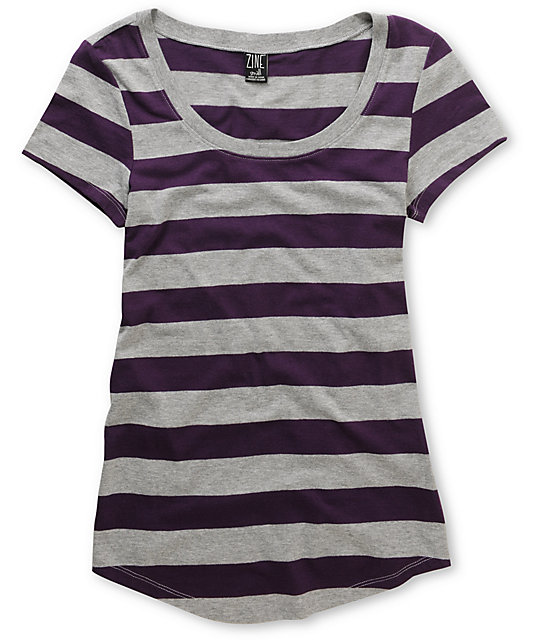Zine Purple & Grey Stripe Scoop Neck T-Shirt