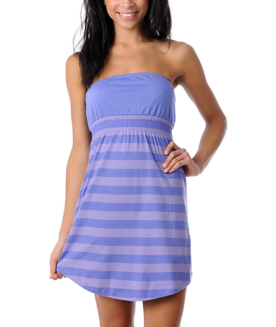 Zine Purple & Lavender Striped Tube Cover Up Dress