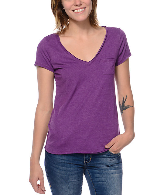 Zine Purple Raw Edge V-Neck T-Shirt