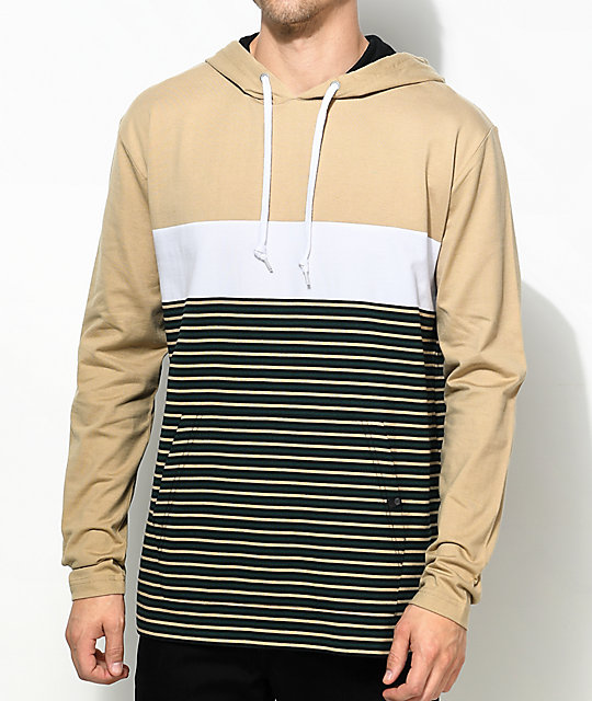 Rafi Khaki, Black & White Striped Hooded T-Shirt