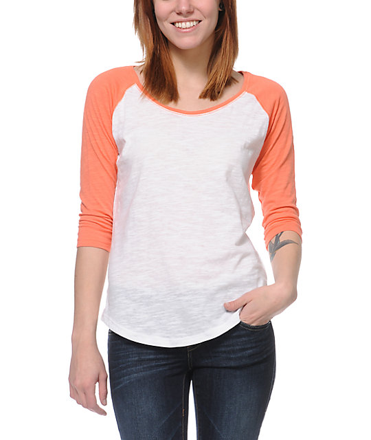 Zine raglan coral white baseball tee for Coral t shirt womens