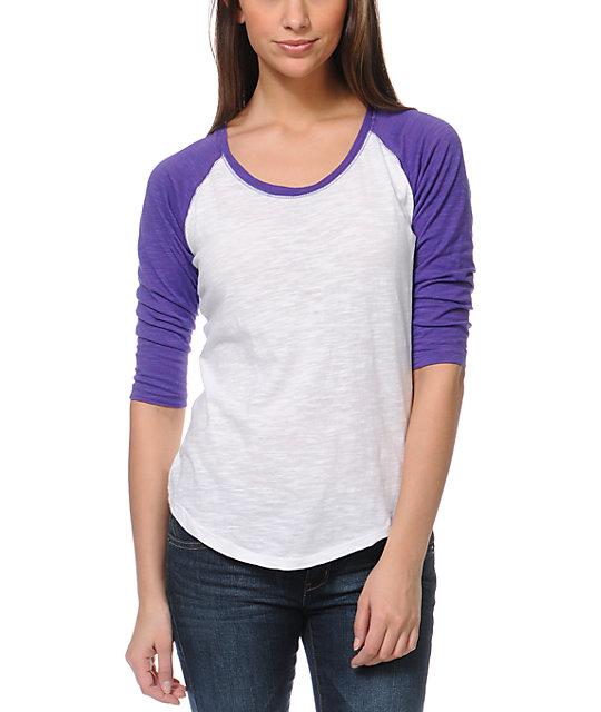 Zine Raglan Purple & White Baseball Tee