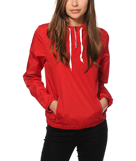 Zine Red Pullover Windbreaker Jacket at Zumiez : PDP