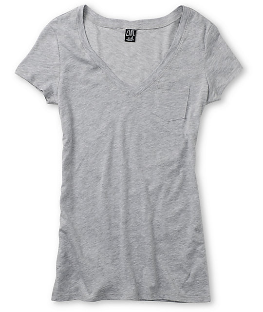 Zine Relaxed V-Neck Heather Grey T-Shirt