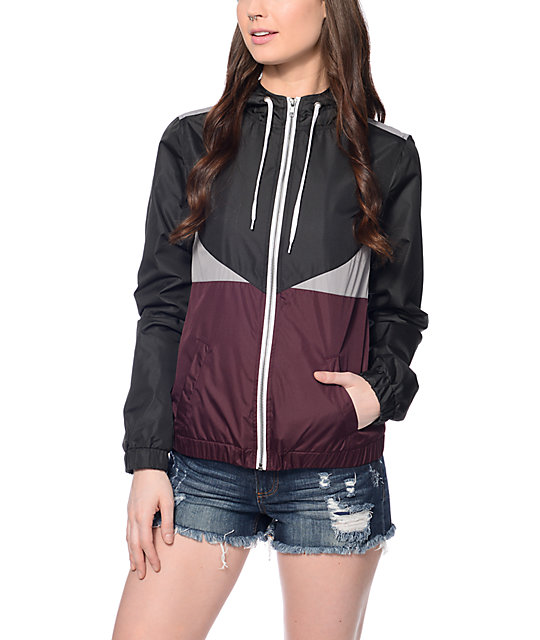 Zine Rowan Burgundy Grey & Black Lined Windbreaker