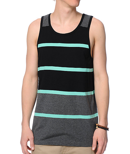 Zine Ryder Black, Charcoal, & Mint Stripe Tank Top