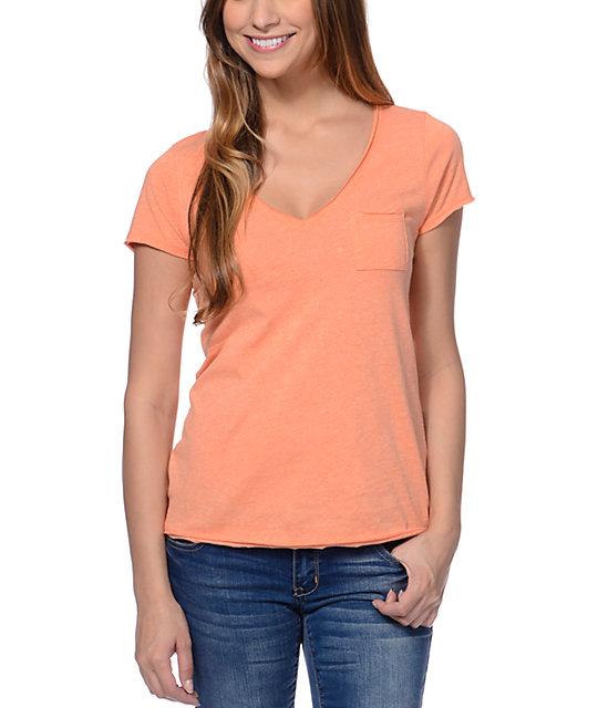 Zine Salmon Raw Edge V-Neck T-Shirt
