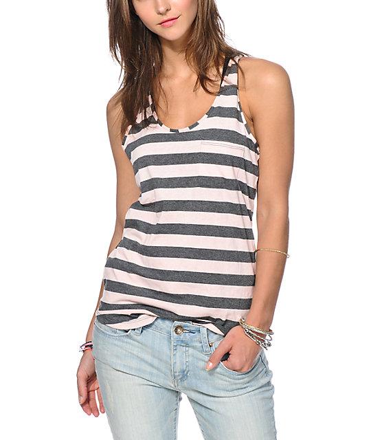 Zine Seashell Pink & Charcoal Stripe Pocket Tank Top