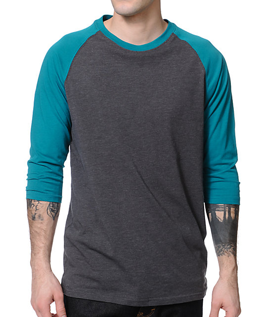 Zine Second Base Turquoise & Charcoal Baseball T-Shirt