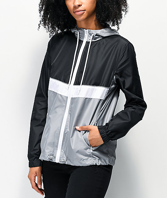 Zine Shalia Black, White & Grey Windbreaker Jacket | Zumiez