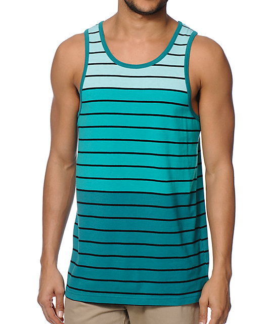 Zine Shrub Gradient Teal Stripe Tank Top