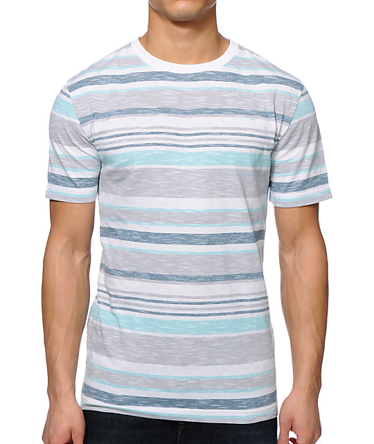 Zine Slub City White & Blue Micro Stripe T-Shirt