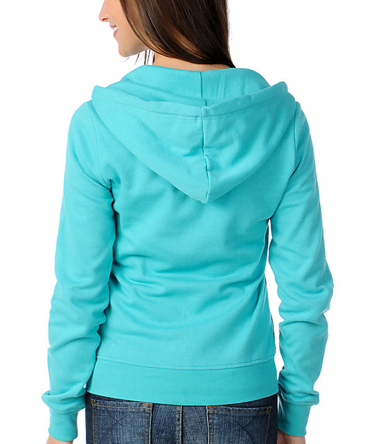 Zine Solid Ceramic Blue Zip Up Hoodie
