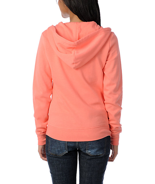 Zine Solid Georgia Peach Zip Up Hoodie