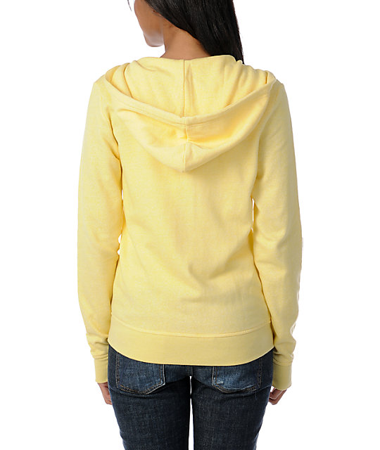 Zine Solid Popcorn Yellow Zip Up Hoodie