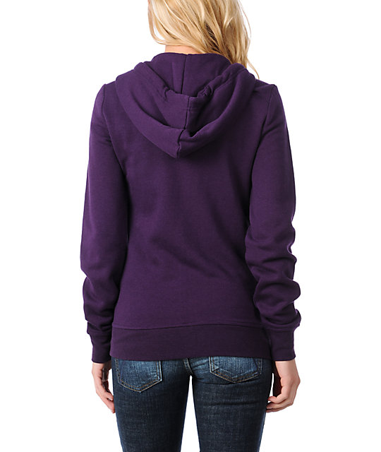 Zine Solid Purple Zip Up Hoodie
