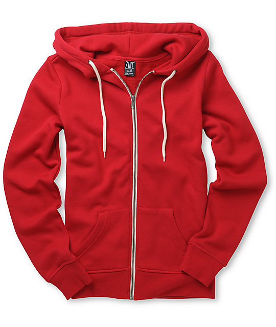Zine Solid Red Zip Up Hoodie