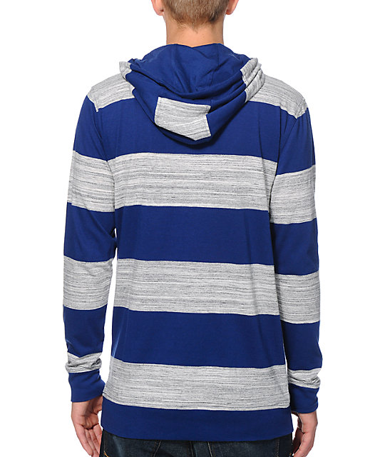 Zine Spaced Blue, Grey, & White Striped Hooded Shirt