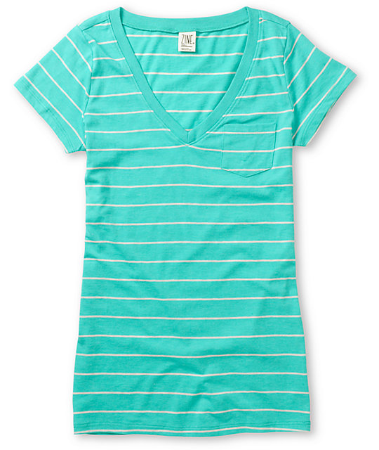 Zine Spectra Green & Oat Striped V-Neck T-Shirt