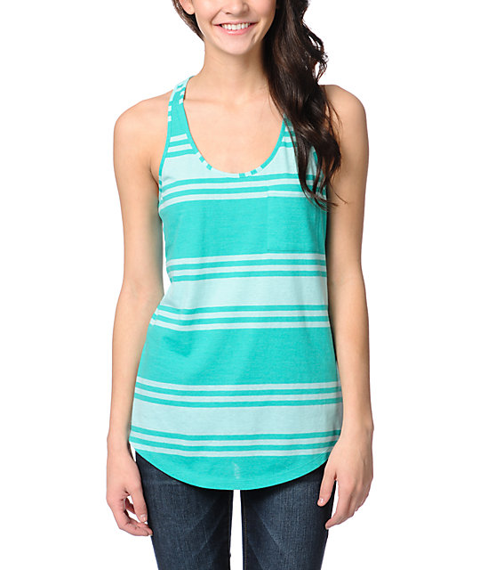 Zine Spectra Green Aruba Wide Stripe Tank Top