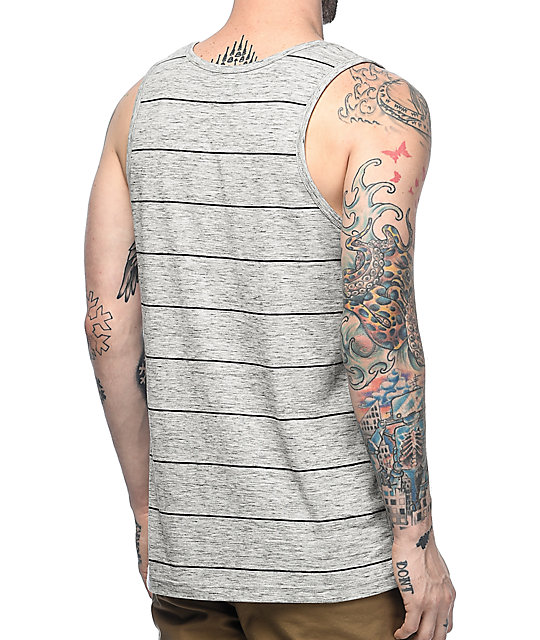 Zine Strapped Grey Stripe Tank Top