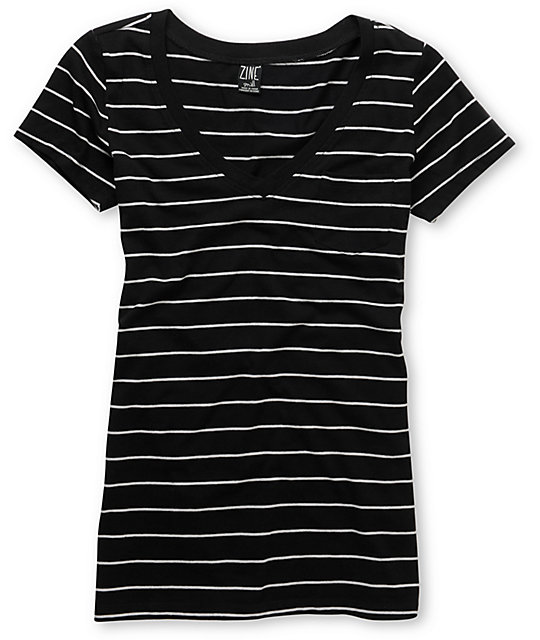 Zine Striped Black & Grey V-Neck T-Shirt