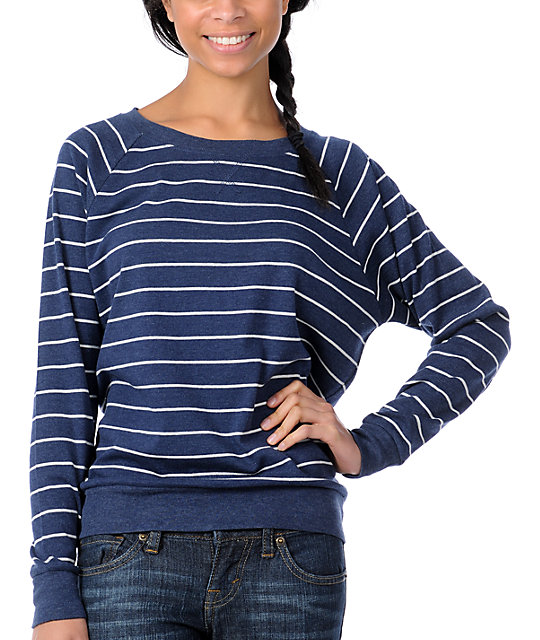 Zine Striped Boyfriend Fit Navy Raglan Top