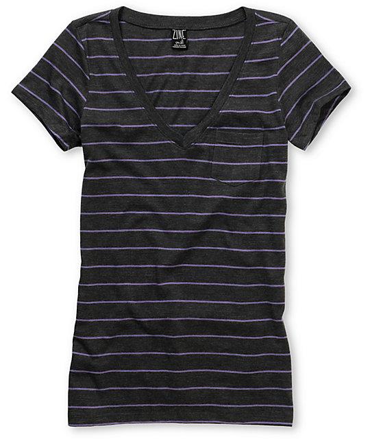 Zine Striped Charcoal & Light Purple V-Neck T-Shirt