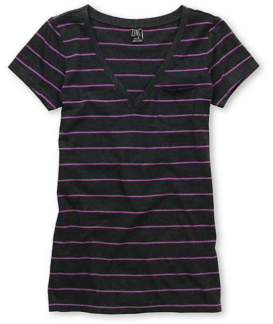 Zine Striped Charcoal & Purple V-Neck T-Shirt
