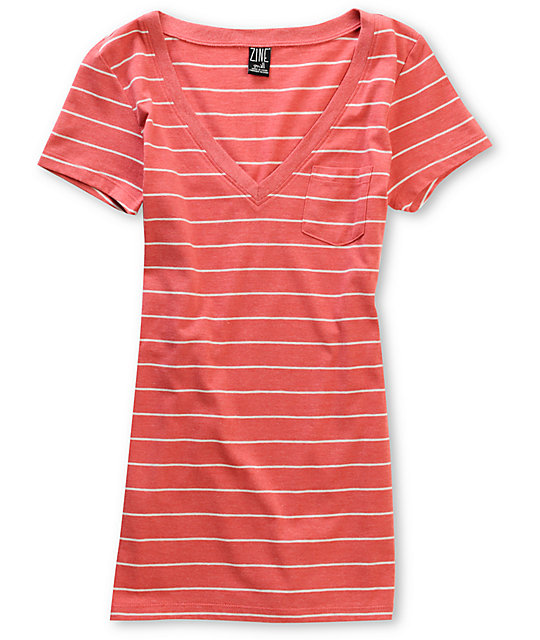 Zine Striped Red & Cream V-Neck T-Shirt