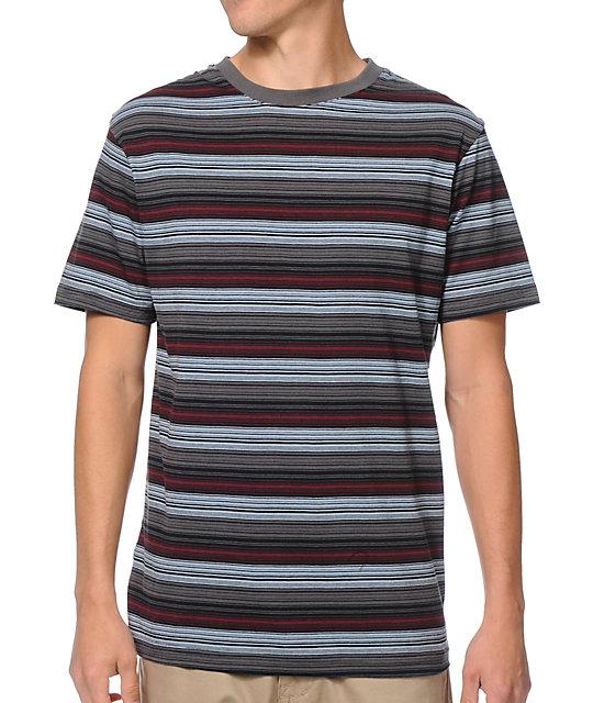 Zine Swoon Blue & Maroon Striped T-Shirt