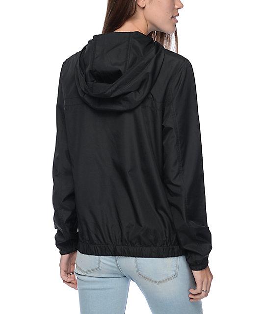 Zine Tasha Jacquard Drawstring Black Pullover Windbreaker Jacket ...