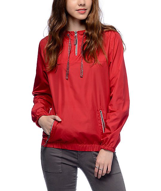 Zine Tasha Jacquard Drawstring Red Pullover Windbreaker Jacket ...