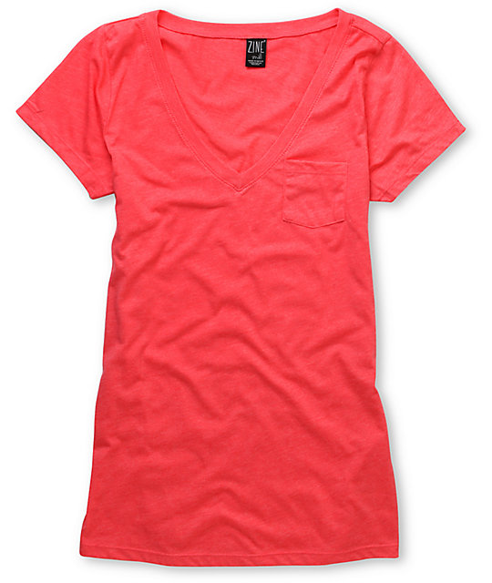 Zine Teaberry Pink V-Neck Pocket T-Shirt