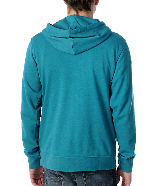 Zine Template Aqua Zip Up Hoodie