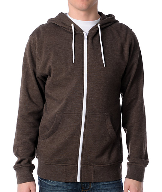 Zine Template Brown Zip Up Hoodie at Zumiez : PDP