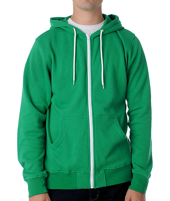 Zine Template Green Zip Up Hoodie at Zumiez : PDP