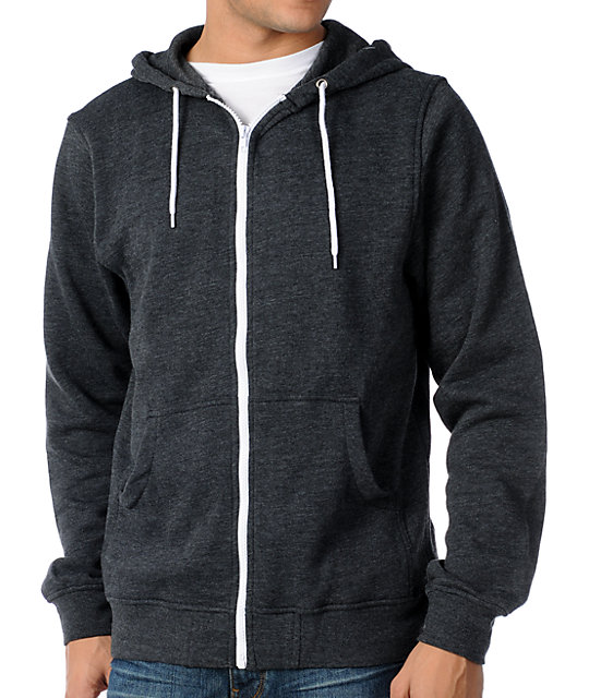 Zine Template Heather Black Solid Hoodie at Zumiez : PDP