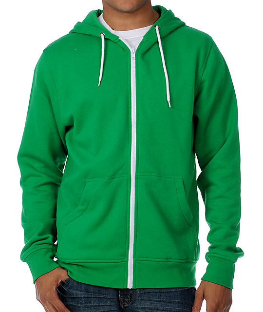 Zine Template Pine Green Zip Up Hoodie