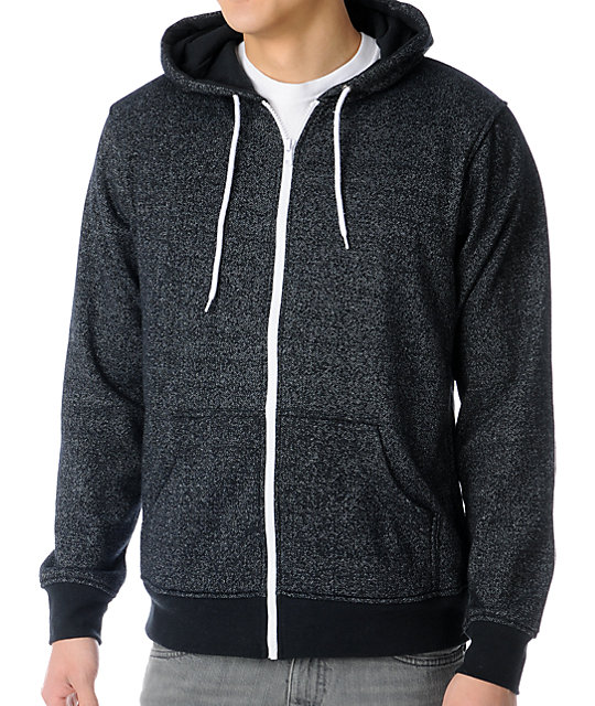 Zine Template Speckled Black Zip Up Hoodie
