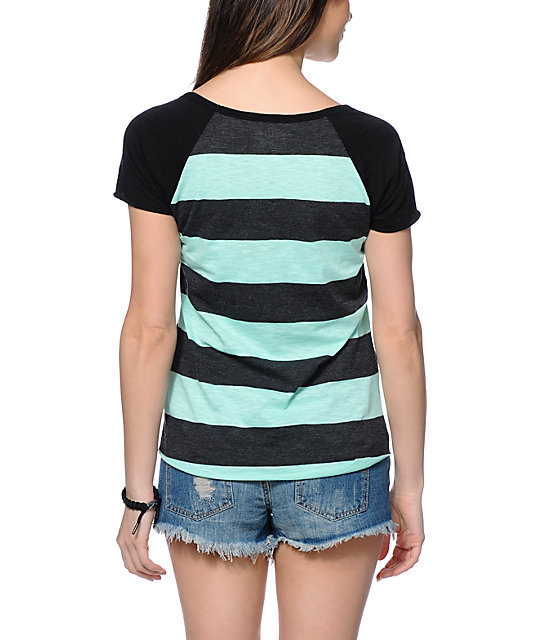 Zine Tempo Mint & Charcoal Stripe T-Shirt