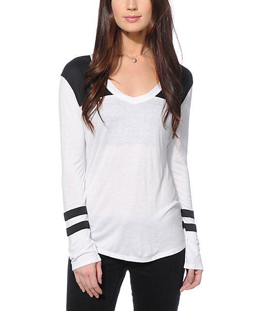 Zine tila black white long sleeve v neck t shirt zumiez for Long white v neck t shirt