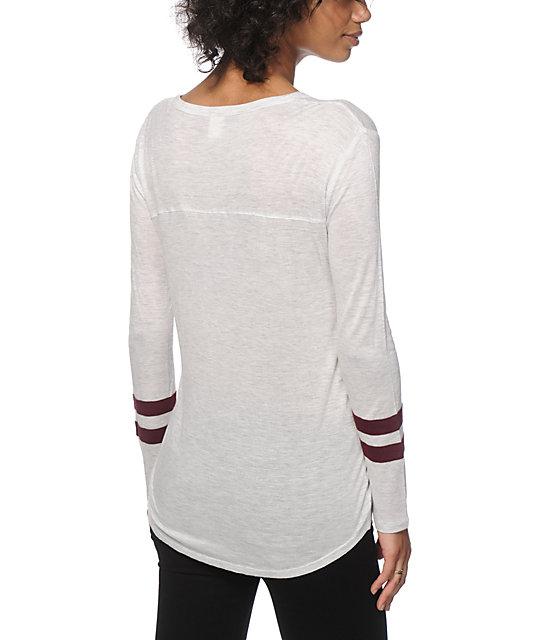 Zine tila white burgundy long sleeve v neck t shirt zumiez for Long white v neck t shirt