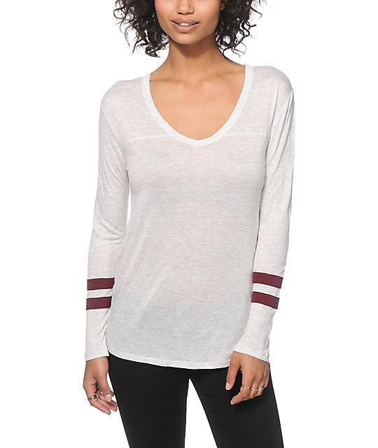 Zine tila white burgundy long sleeve v neck t shirt for Long white v neck t shirt