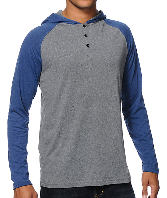 Tracer Grey & Blue Long Sleeve Hooded Henley Shirt