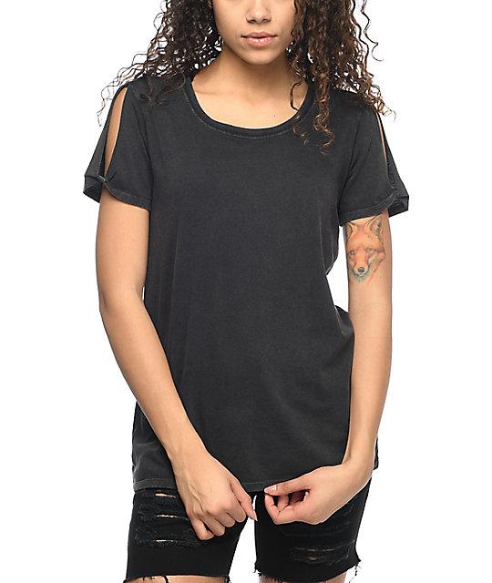 zine tresa black cold shoulder t shirt at zumiez pdp. Black Bedroom Furniture Sets. Home Design Ideas