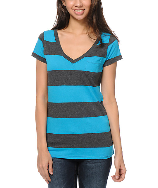 Zine Turquoise & Charcoal Rugby Stripe V-Neck T-Shirt