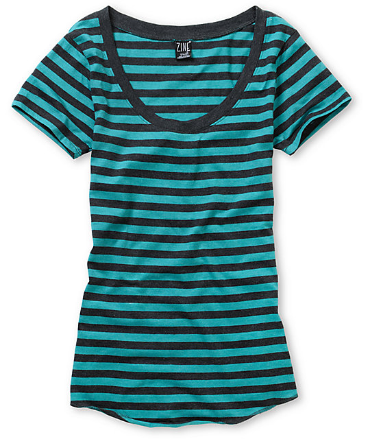 Zine Turquoise & Charcoal Stripe Scoop Neck T-Shirt